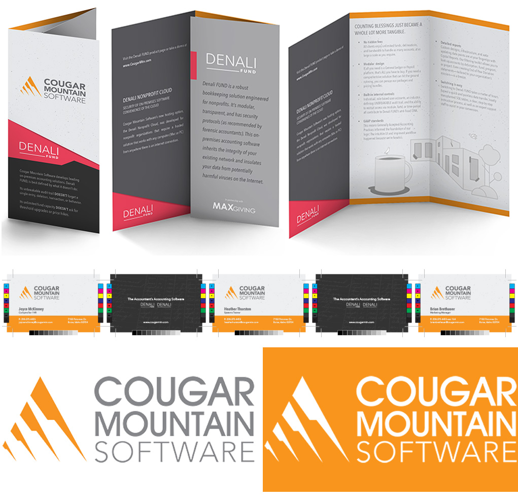 Brand Assets. A Cougar Mountain Software brand refresh is on bright display with this photo of a conference brochure (try-fold) for Denali Fund; shown from three perspectives. Beneath the brochure are three business cards, separated by the reverse-side of said business cards carrying the brand tagline,