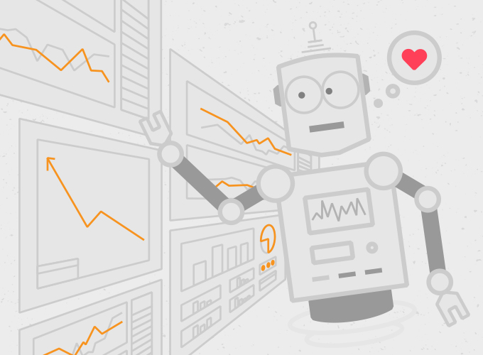 We're Analytics Junkies. This screenshot captures the friendly, floating robot created by c308 Marketing for the Cougar Mountain Software animated video series. Robot is looking at wall of graphs and analytics. A thought bubble encloses a heart and hovers above the robot's head.