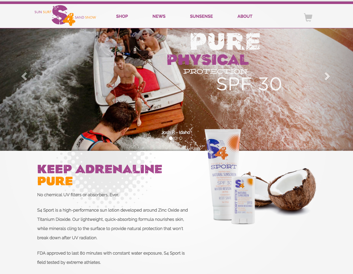 S4 Suncare homepage