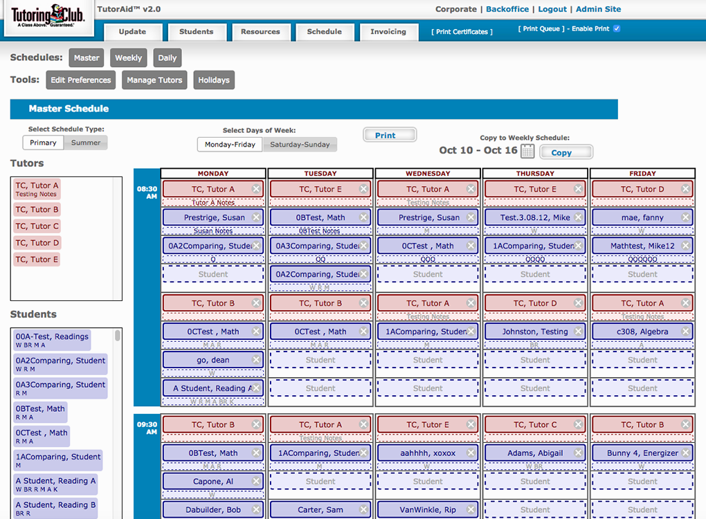 TutorAid Scheduler. Tutoring Club screenshot of custom scheduling software created by c308 Marketing. Drag-and-drop functionality is hinted at by the dashed lines, empty space, and dozens of rectangles representing students and/or specific courses (delineated by color) that are ordered per the days of the week.