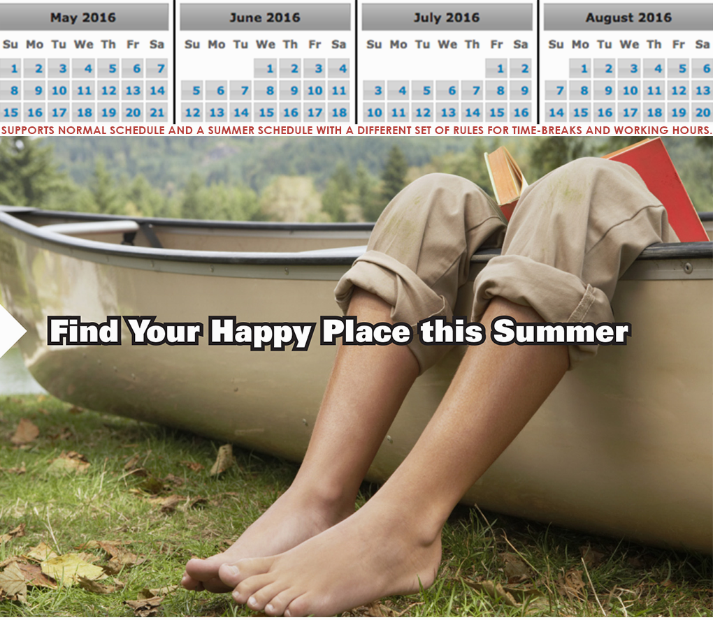 TutorAid Summer Banner. 'Find your happy place this summer,' tagline is centered over image of child's feet hanging over side of boat, book in their lap. Image and headline are examples of the creative utilized by the franchise, produced by c308 Marketing. The top half of the image is an abridged screenshot of monthly calendars found in the software.